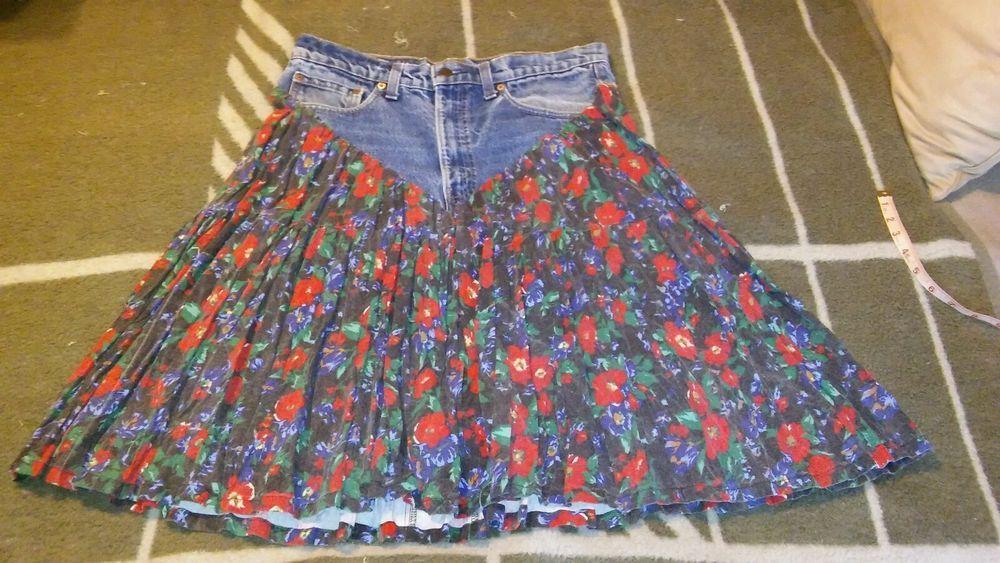 Women's Levi's Handmade Designer 517 Jean Skirt Size 34/33 Trendy Chic…