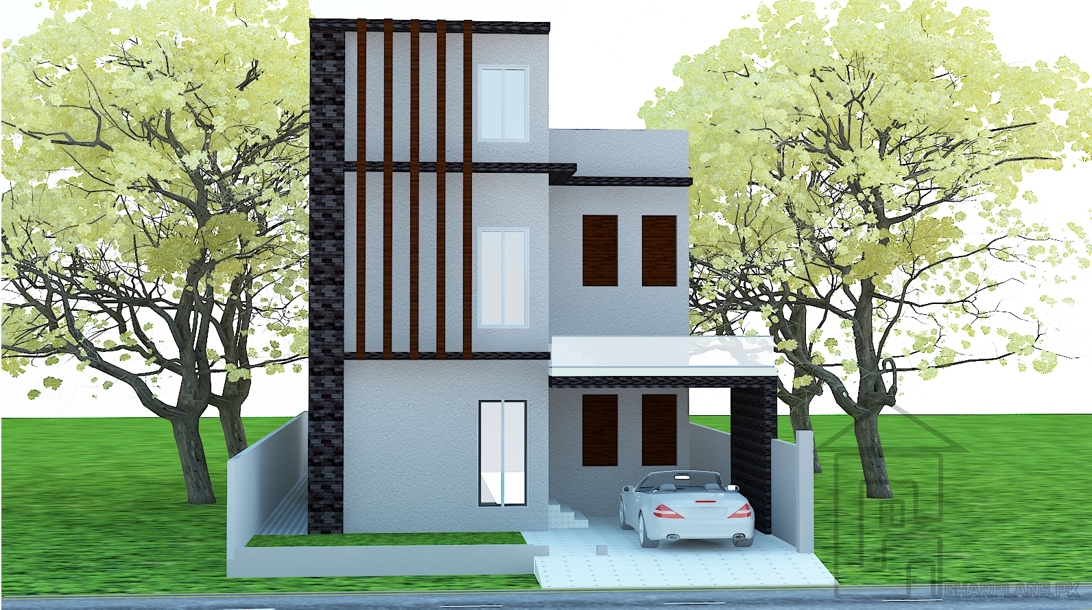 7 marla house map design with house front elevation and