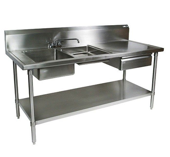 The John Boos Stainless Steel Prep Table Inches Wide By - Stainless steel prep table with shelves