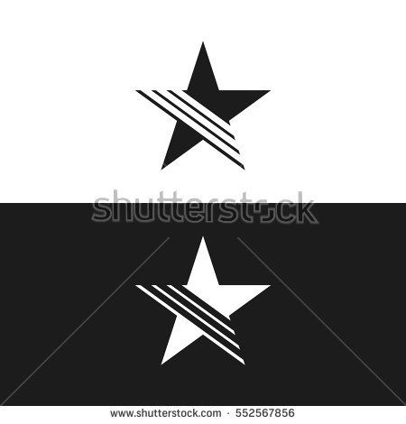 Simple Flat Star Logo with Line Isolated logo design Star logo