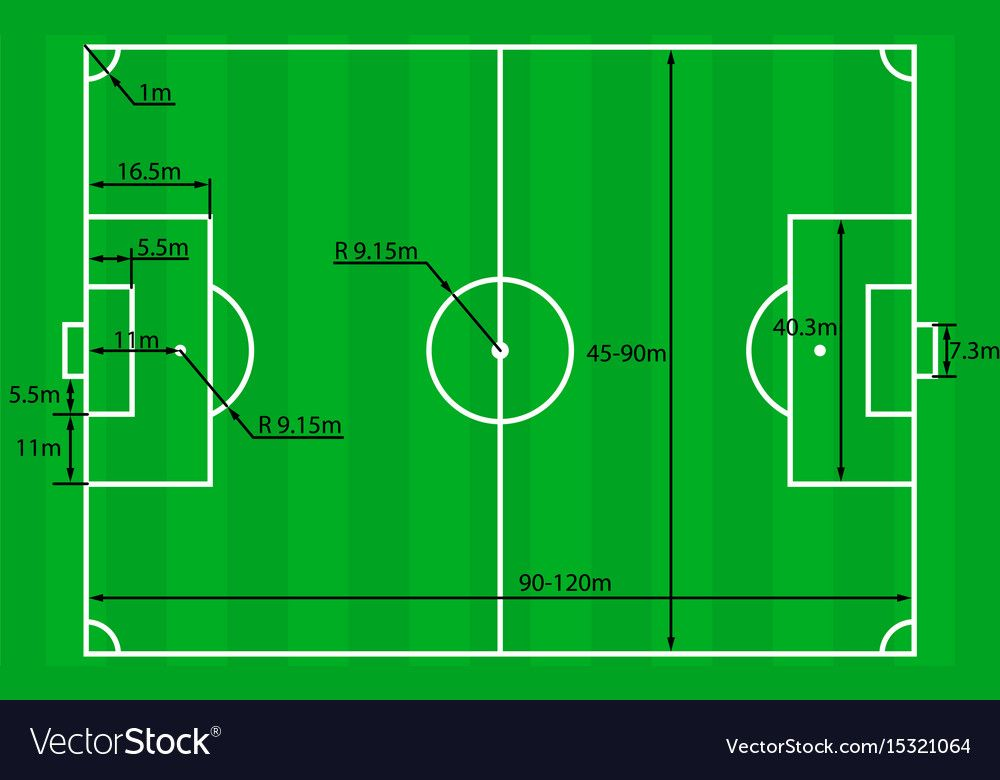 Soccer field or football field plan with dimensions