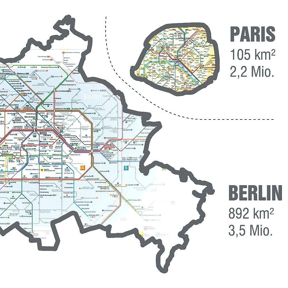 Berlin - Paris | Transit maps real size comparision | 2011 | Robert ...