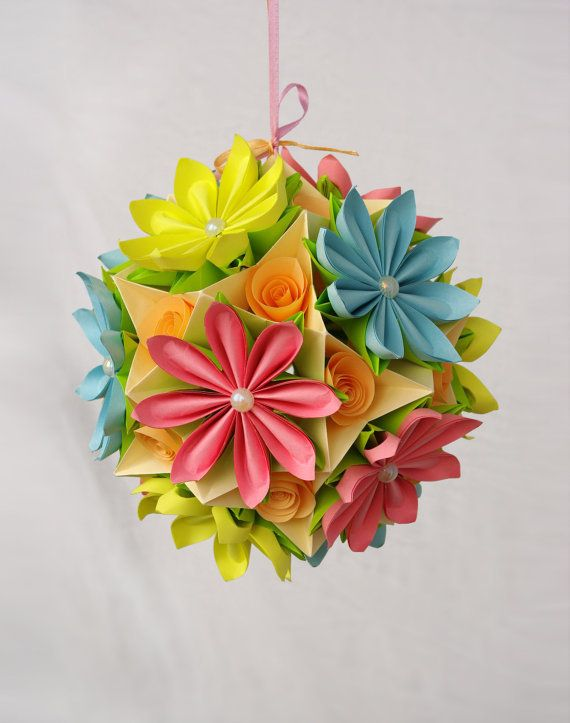 Origami Paper Ball Flower Kusudama By Waveoflight On Etsy