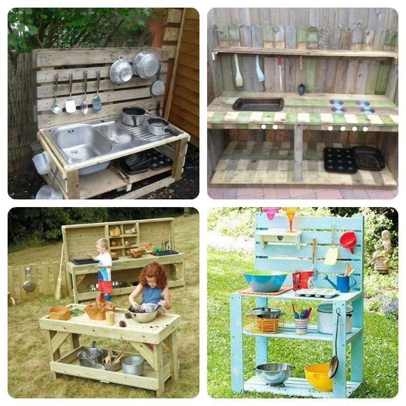 Cocinas para ni os hechas con palets les encantar for Cocinas para patios