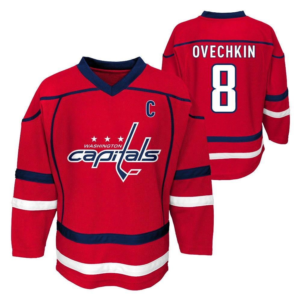 3848ce674 Cheer on the Washington Capitals in style with this official NHL Boys  jersey. This sports apparel top makes your allegiance unmistakable using  team color ...