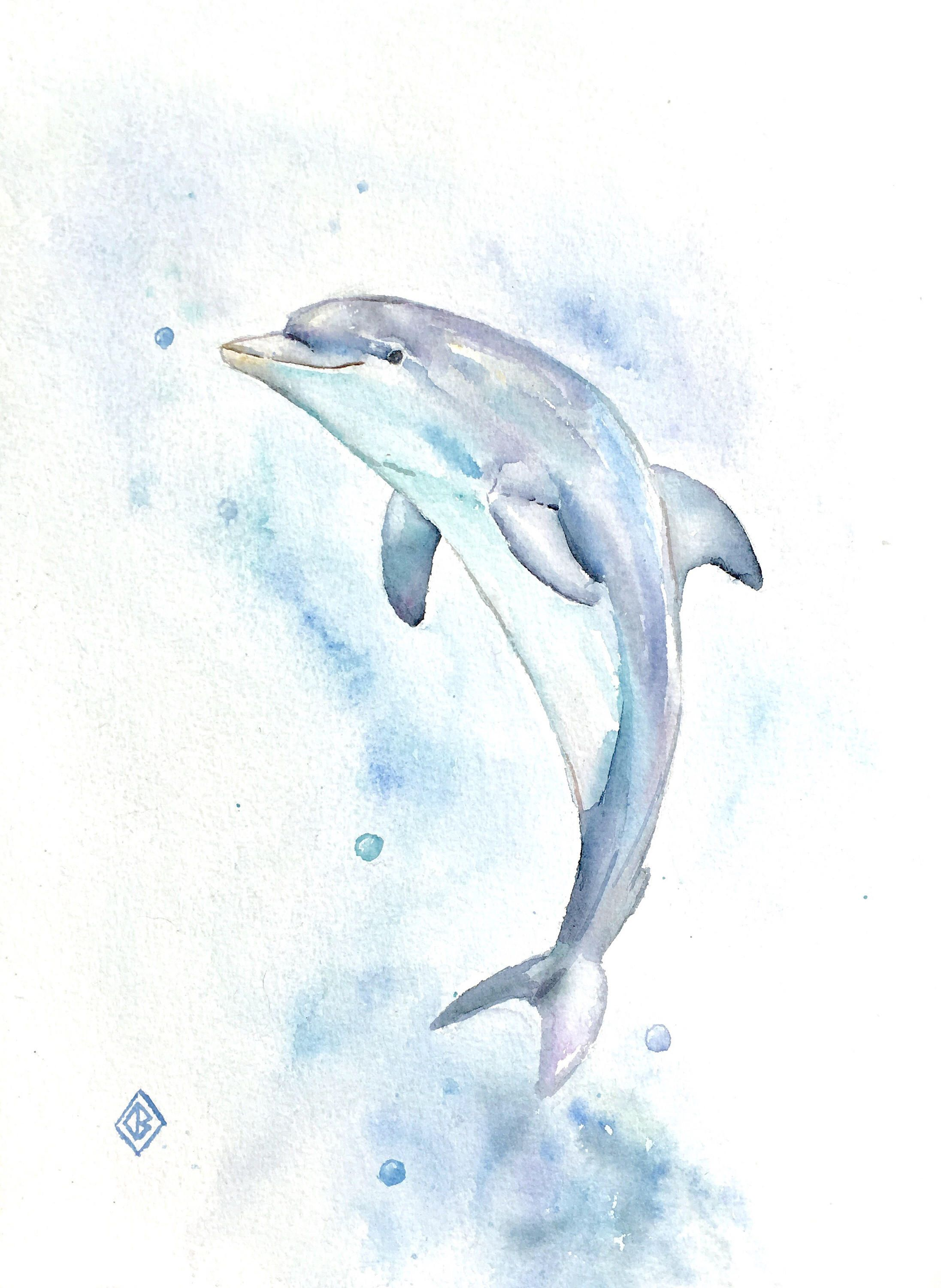 Dolphin 9x12 Original Watercolor Painting Cute Nature Art Ocean Sea Life Blue Turquoise Underwater Impre Dolphin Drawing Dolphin Art Dolphin Painting