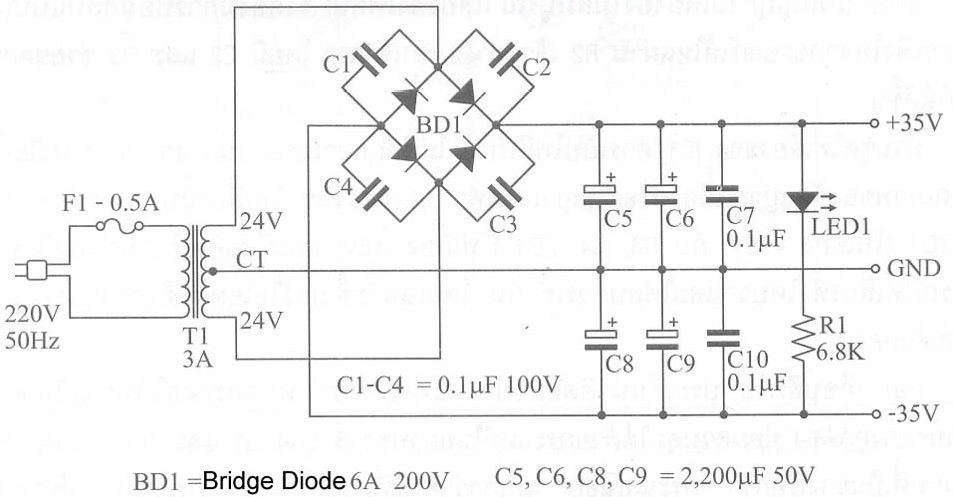 Make a Complete Power Amplifier for Home Power supply circuit and