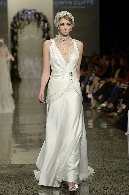 Robyn Cliffe Wedding dress. Off white satin gown.