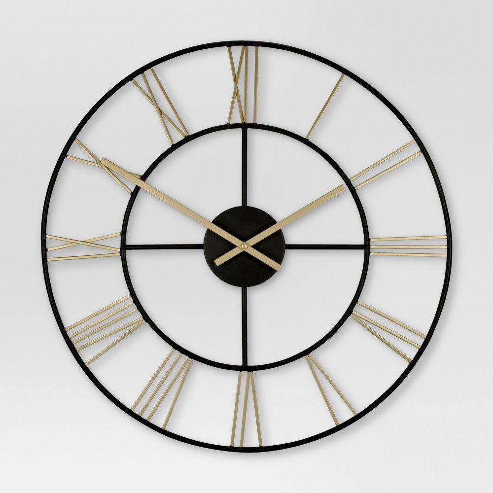 Decorative Wall Clock Gold Black Threshold Wall Clock Clock Decor Metal Wall Clock