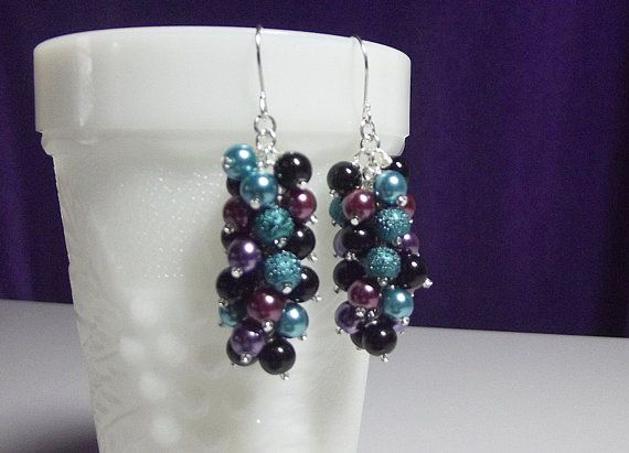 Violet Blue Teal Black Purple Pearl Cluster Earrings, Christmas Gift, Mom Sister Birthday Gift Mothers Day Bridesmaid Aunt Wife Gift