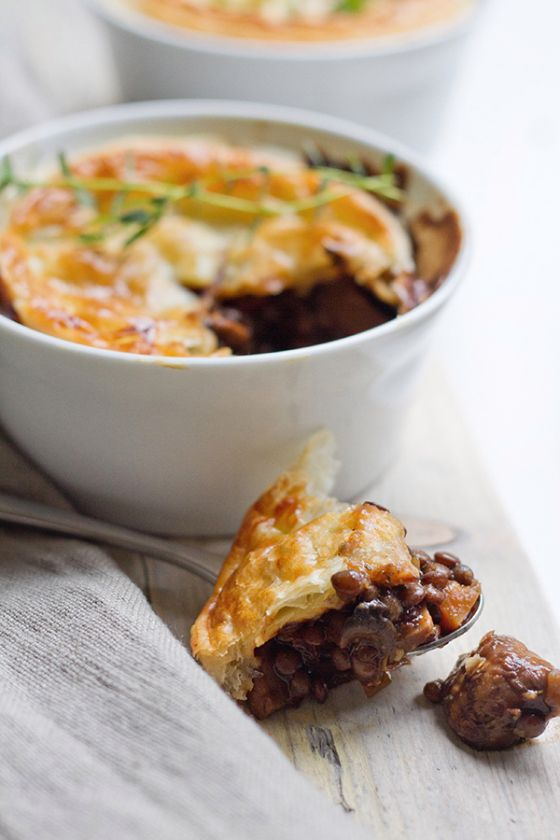 Mushroom and Lentil Pies | To make vegan omit egg wash
