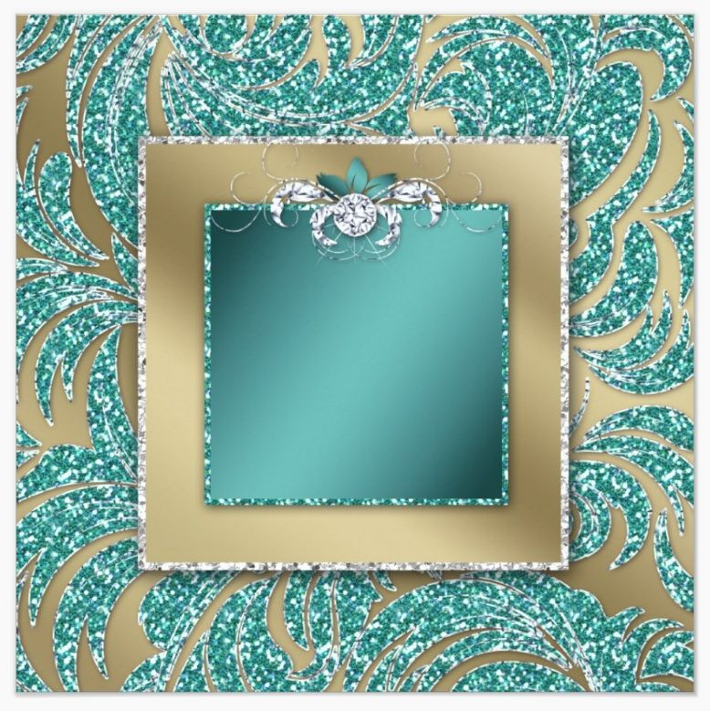 teal & gold glitter with inside frame and diamond center