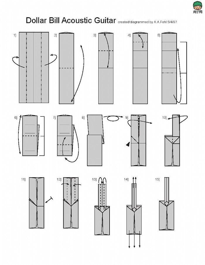 origami guitar 1 origami money amp rectangle pinterest