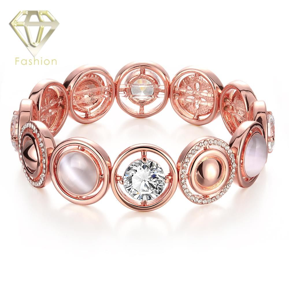New arrival rose gold plated with elegant opal stone aaa cubic