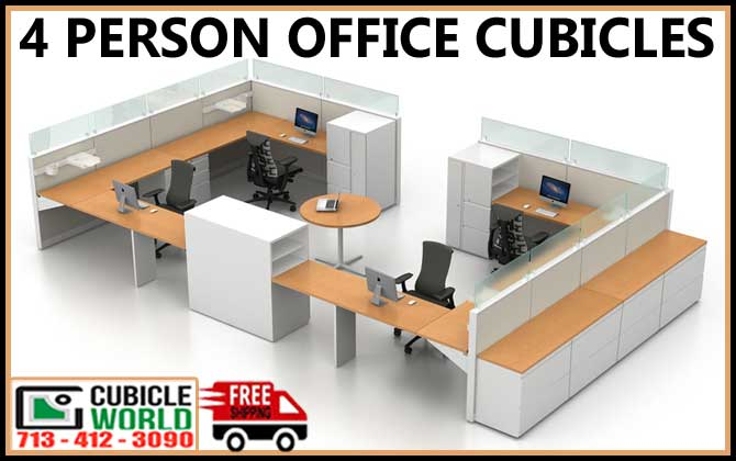 4 Person Office Cubicles Free Shipping Quote 713 412 3090 Cubicle World Offers Modular Cubicle Workstations C Office Cubicle Cubicle Office Cubicle Design