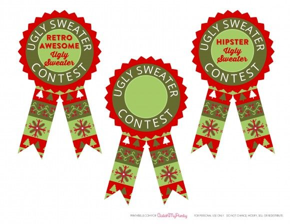 Ugly christmas sweater printable. Free party awards catchmyparty