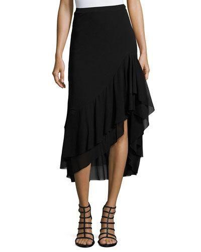 FUZZI Asymmetric Ruffled Tulle Midi Skirt, Black. #fuzzi #cloth #