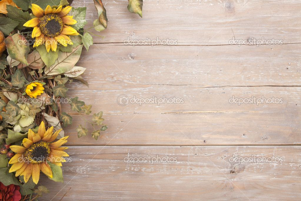 Fall Desktop Wallpaper With Sunflowers Fall Border With Sunflowers On A Grunge Wood Background