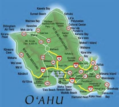 Oahu Beach Map Map Of Oahu Beaches |  cc virtual tour of o ahu surf map of