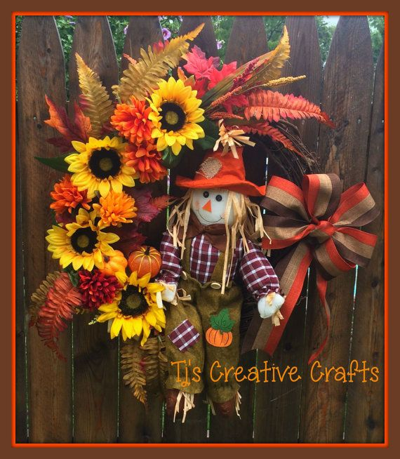 Autumn Scarecrow Wreath Harvest Wreath Autumn by TjsCreativeCrafts