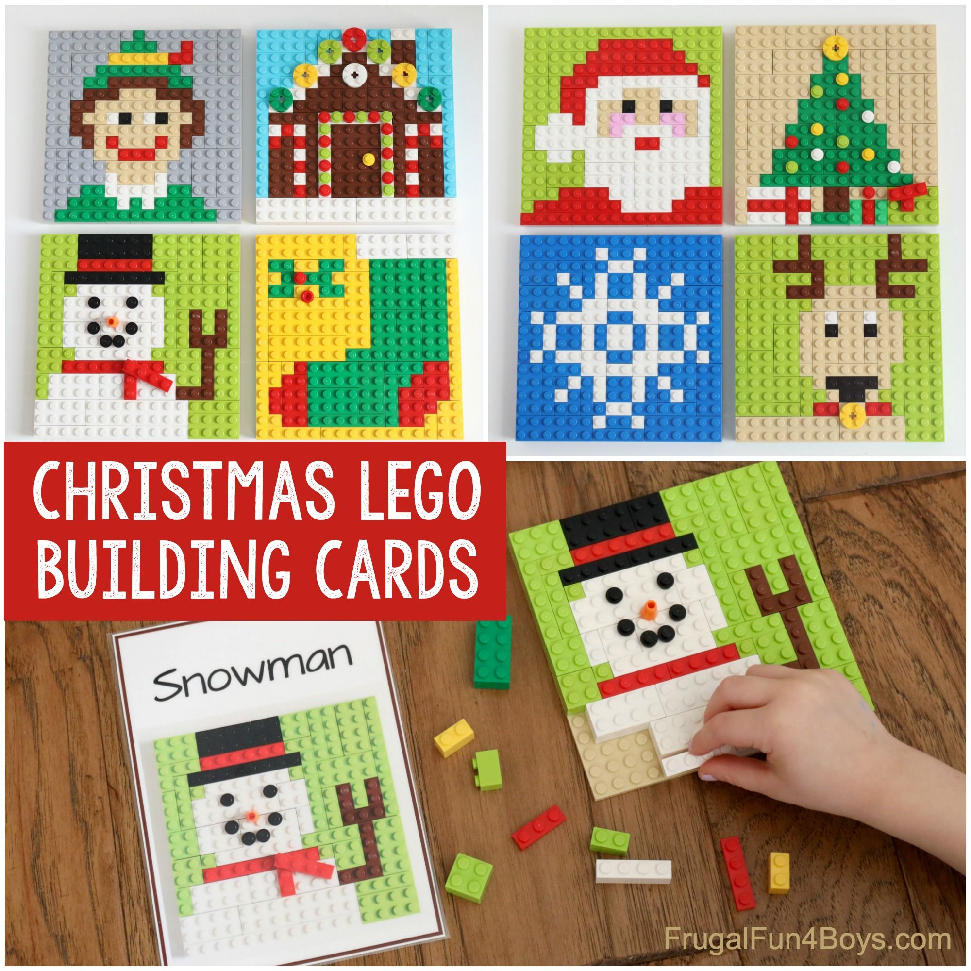 Printable LEGO Christmas Building Cards - Frugal F