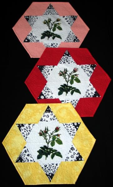 Advanced Embroidery Designs. Free Projects and Ideas. Quilted Table Mats with Rose Embroidery.