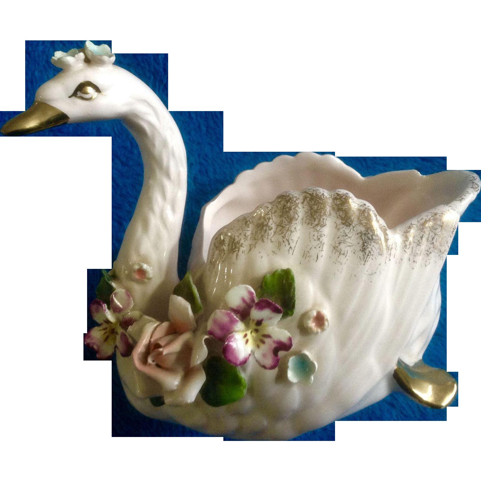 Vintage Norcrest Japan Floral Pastel Pink Swan Serena S11 1950 s