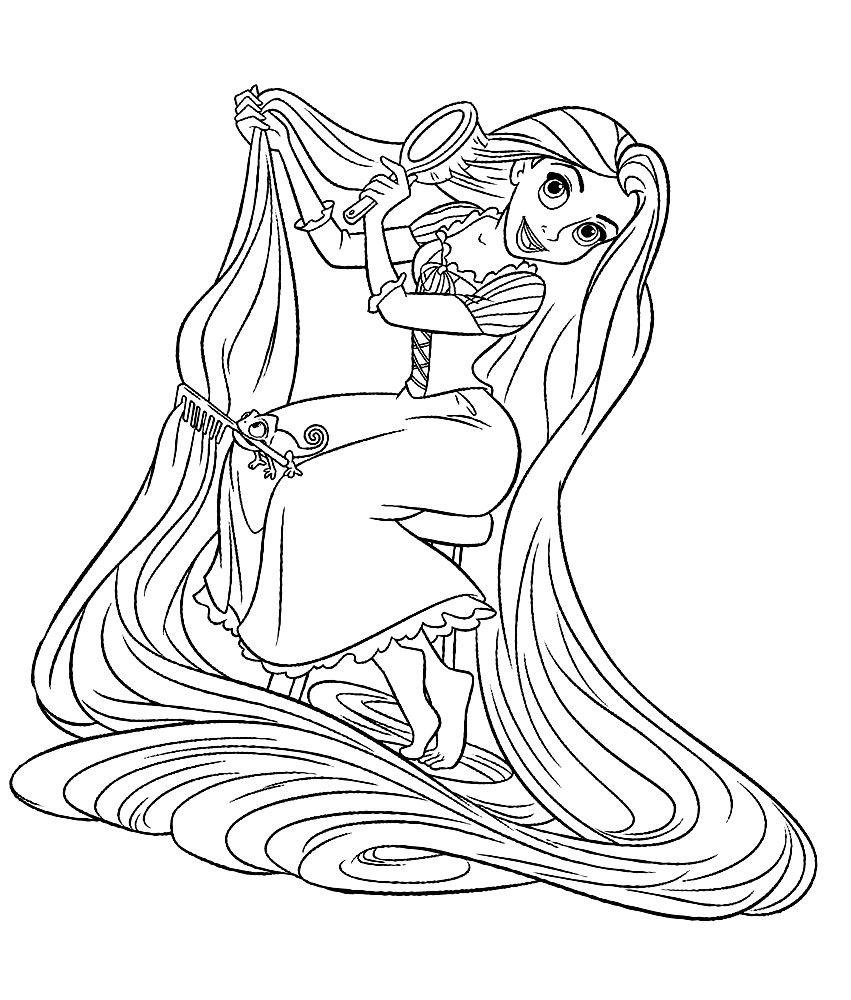 Coloriage De Raiponce en 2020   Coloriage princesse, Coloriage, Raiponce