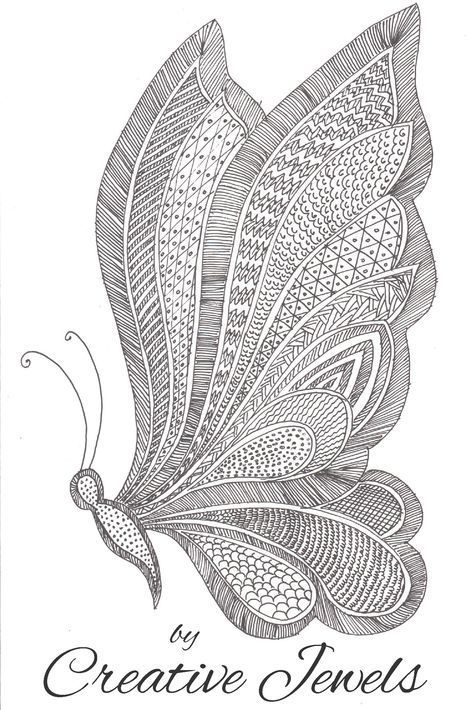 Zentangle Art | Butterfly Drawing | easy tutorial for ...