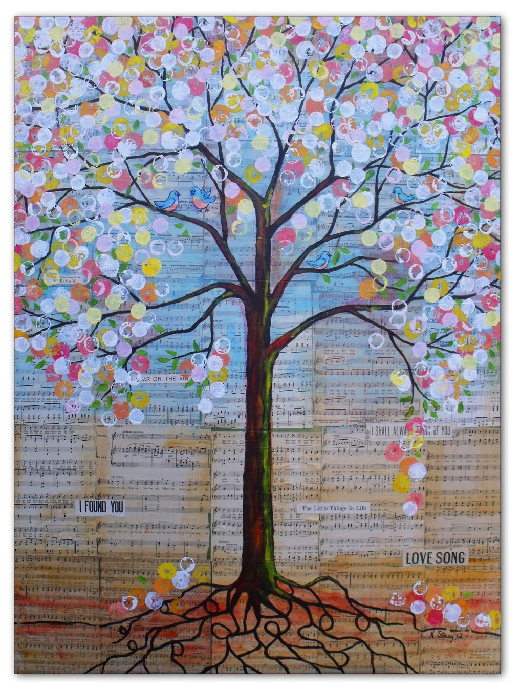 Love this tree art for 4th grade class coop project. Have each kid design some of the circle leaves. Love the sheet music background too.