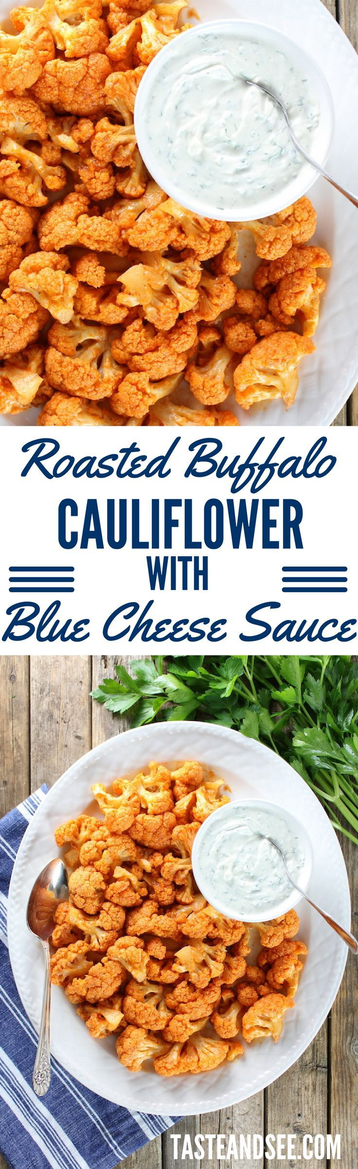 Roasted Buffalo Cauliflower With Blue Cheese Sauce