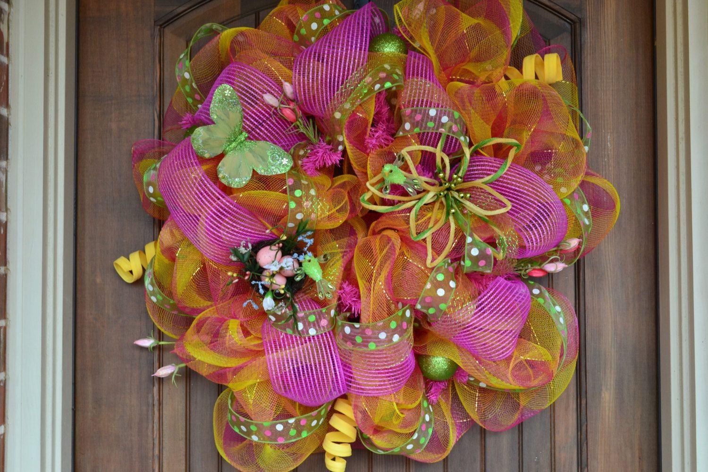 Spring Deco Mesh Wreath via Etsy