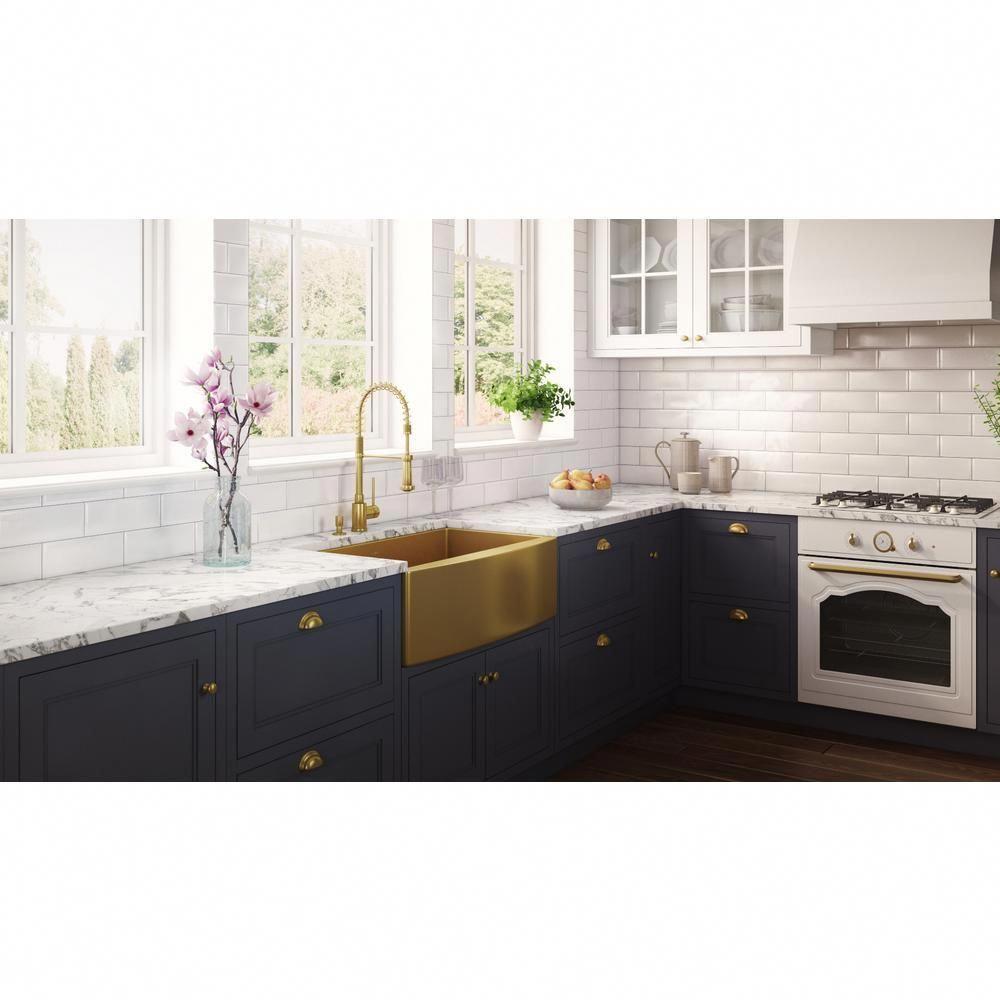 Ruvati 33 in apronfront farmhouse kitchen sink brass