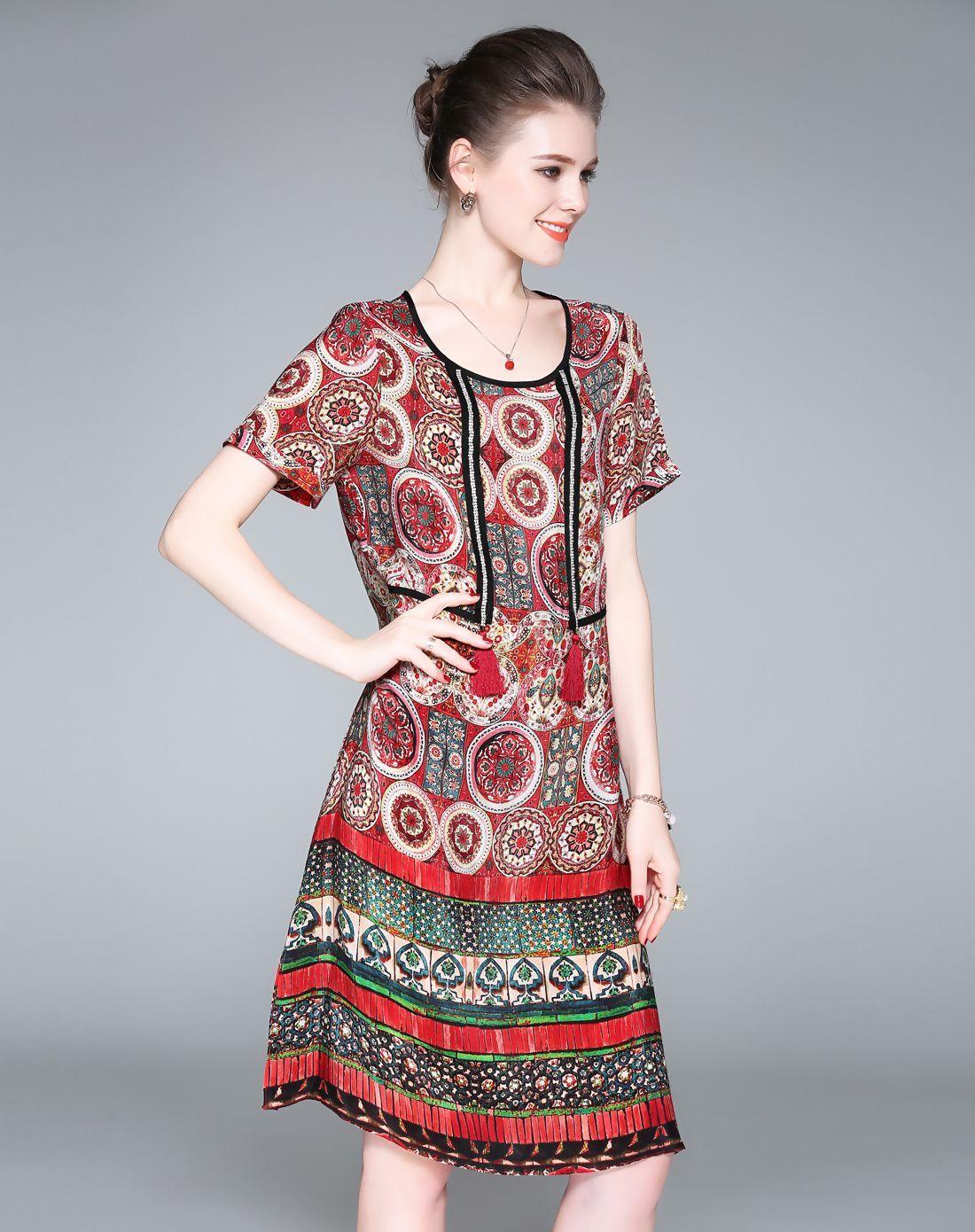 Red silk printing tribal loose midi dress