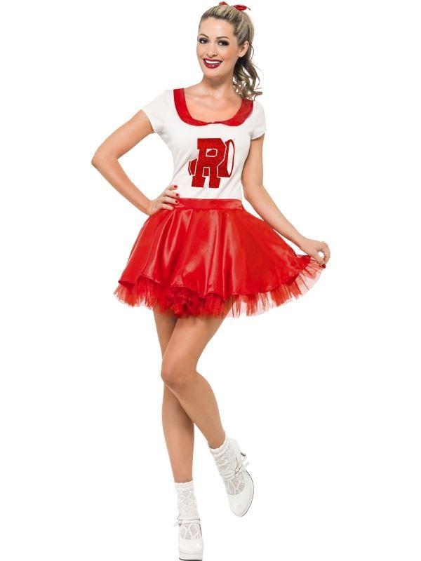 Halloween Costume Cheerleader 1950/'s Fancy Dress Outfit Adult High School Pom UK