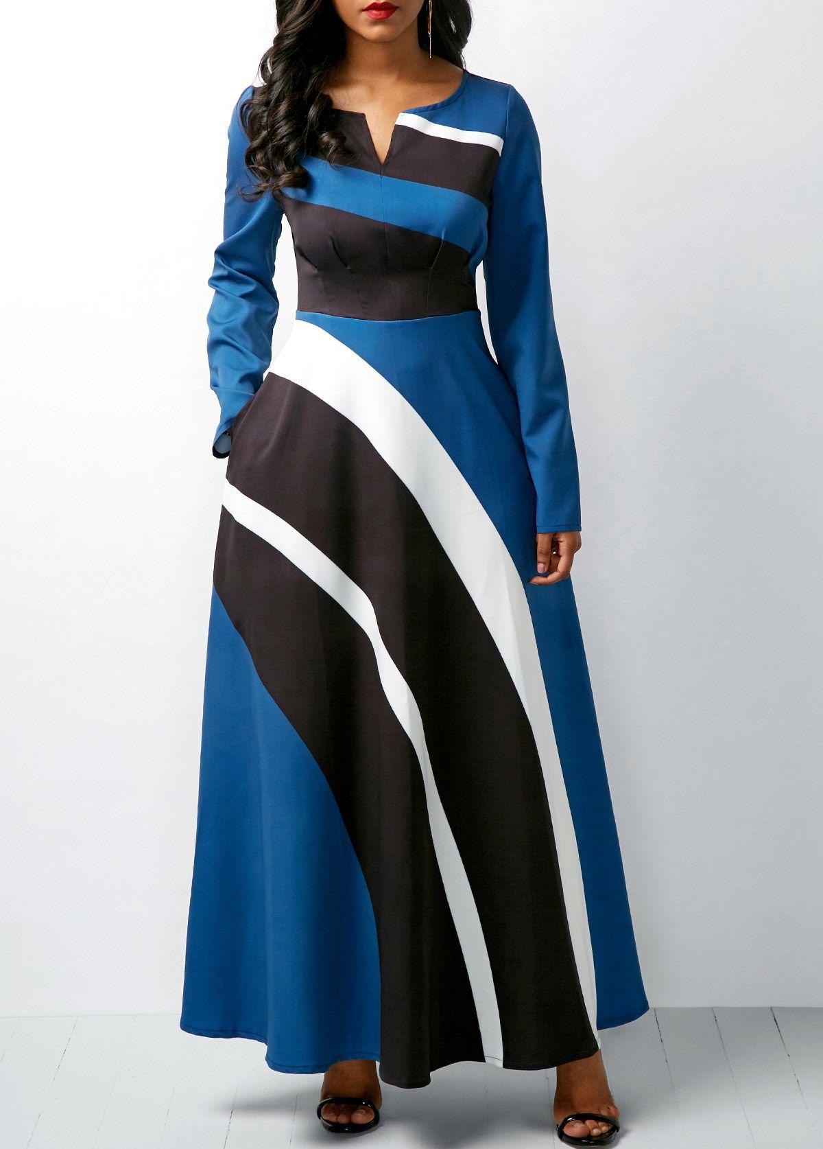 d22adde00a Long Sleeve Printed High Waist Split Neck Dress