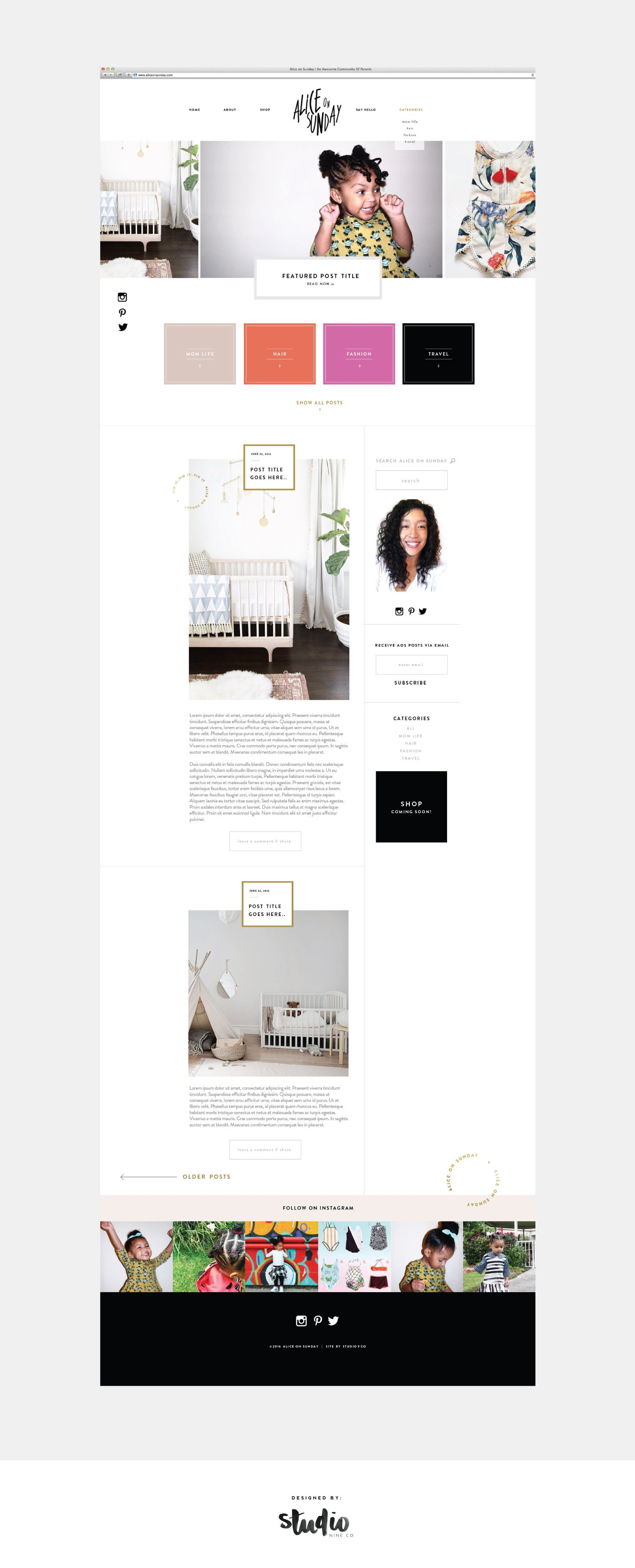 Alice On Sunday By Studio 9 Co Photographer Branding Design Web Design Web Design Inspiration