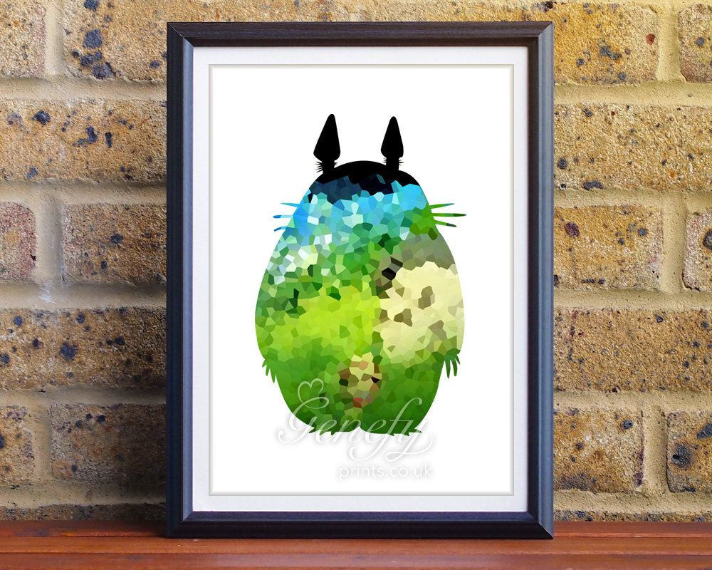 Studio Ghibli Totoro Silhouette Poster Wall Art / Home Decor Ideas  Www.genefyprints.co