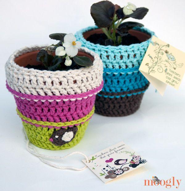 Sembrando semillas Tiesto Cozy - patrón de crochet libre con la ...