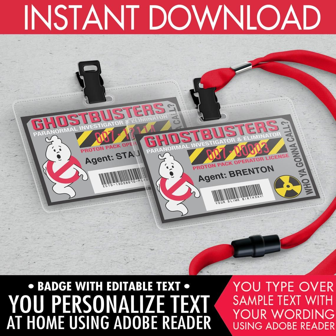 Ghost-buster Badges-Ghost-buster I.D. Badge, Ghostbusters Geburtstagsparty Favor, Self-Editing | DIY Editable Text INSTANT DOWNLOAD druckbar #deguisementfantomeenfant