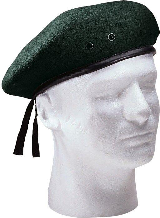 Green Military Wool Monty Beret Hat w  Eyelets  609ac3f4a