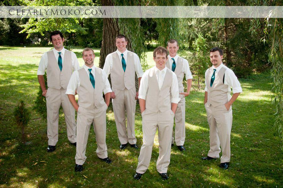 Groom and Groomsmen, Teal tie, khaki vest suits. Country wedding ...