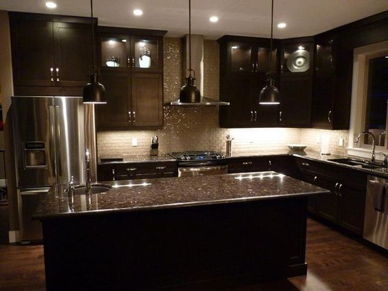 Espresso Cabinets On Pinterest Kitchens And Floors Regarding Kitchen Backsplash With Dark Ideas