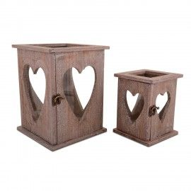 This set of two wooden and glass stylish lanterns are perfect for adding romantic candlelight to your Wedding Day #wedding #heart #candle
