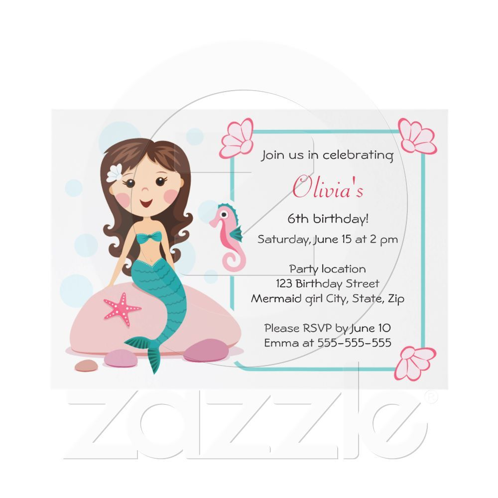Little mermaid girl cute girly birthday invitation | Party Ideas ...