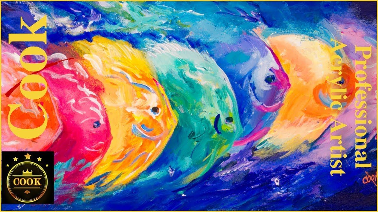 Kaleidoscope School Of Fish Acrylic Painting Tutorial For Beginner