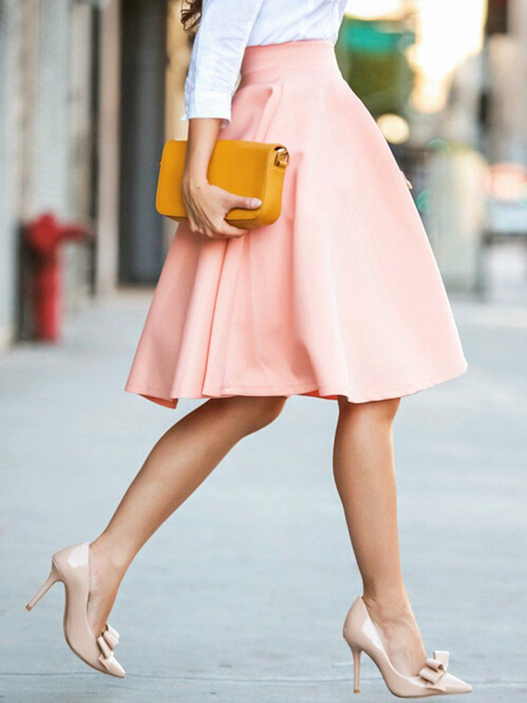 bd1598444775 Peach Pink High Waist Midi Skater Skirt - MYNYstyle - 2. Detail  - Color:Pink  DRESSES ...
