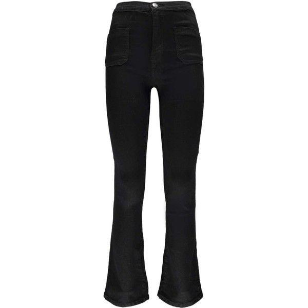 Boohoo Petite Amy 70'S Kick Flare High Rise Jeans   Boohoo