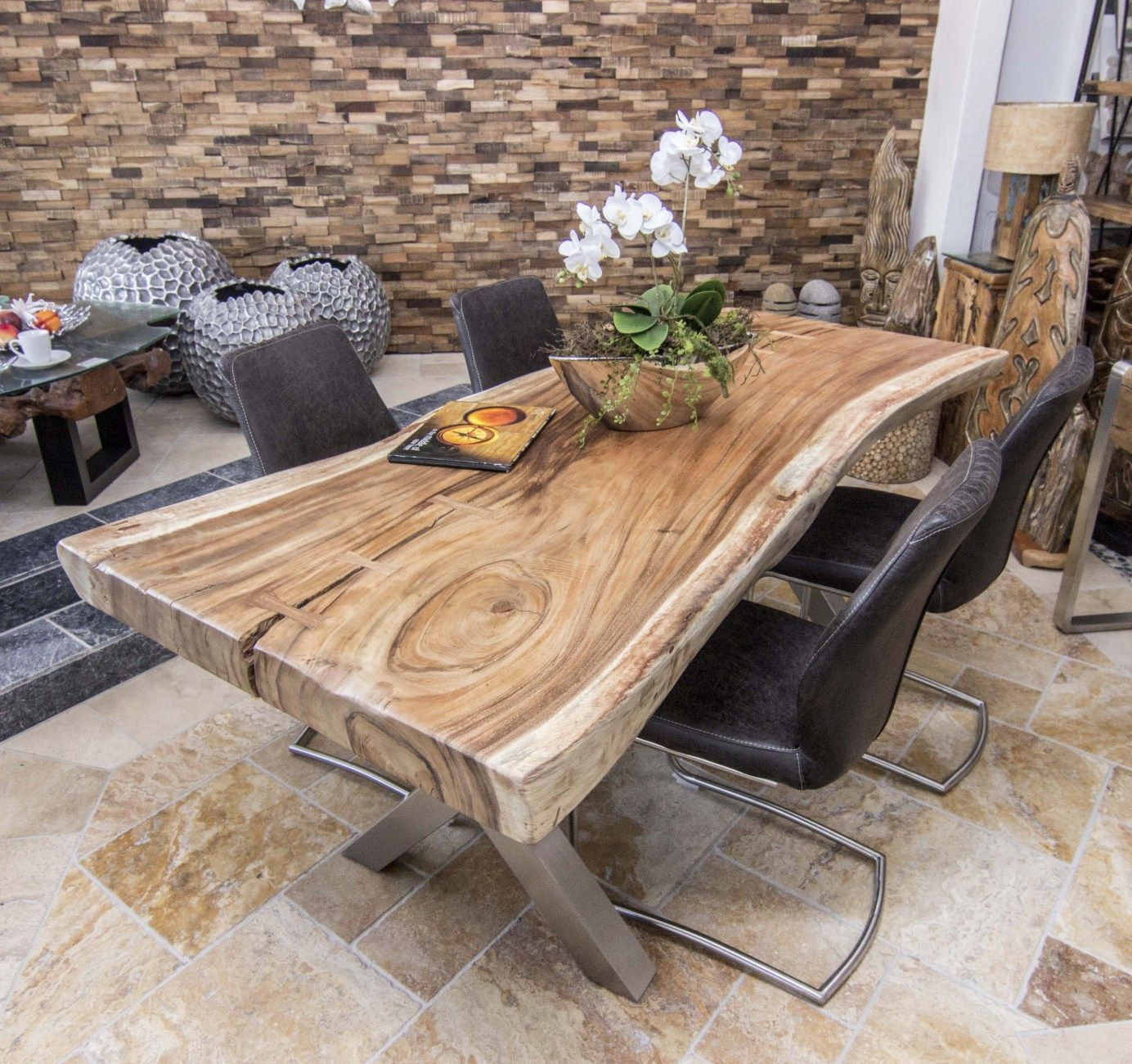 baumstammtisch massivholz suar wooden tables pinterest tisch holz und m bel. Black Bedroom Furniture Sets. Home Design Ideas