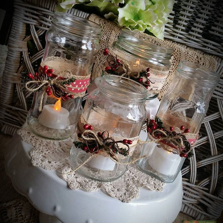Christmas Jar Tinker Repurposed Jars Music Sheets All Tied Up With Ribbon Lace Jute Raggedybits Handmade W Christmas Jars Diy Painting All Tied Up